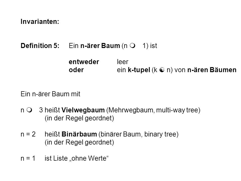 Invarianten: Definition 5: Ein n-ärer Baum (n m 1) ist. entweder leer. oder ein k-tupel (k [ n) von n-ären Bäumen.